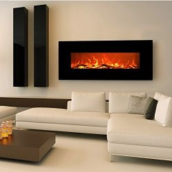 EZcheer 50″ Electric Fireplace Wall Mounted Heater Realistic Flame & Sound 1500w Adjus ...