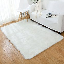 OJIA Deluxe Soft Modern Faux Sheepskin Shaggy Area Rugs Children Play Carpet For Living & Be ...