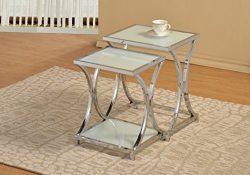 Chrome Metal Glass Shelf Side End Nesting Tables X-Design (Set of 2)
