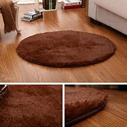 DODOING Coffee Fluffy Round Shaggy Area Rug Carpets Anti-Slip Living Room Bedroom Floor Carpet C ...