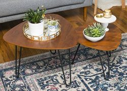 WE Furniture Hairpin Leg Wood Nesting Coffee Table Set – Walnut