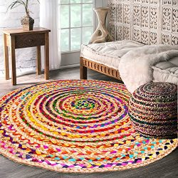 Hand Woven Natural Jute & Cotton Multi Chindi Braided Rug for Kitchen, Livingroom and Bedroo ...