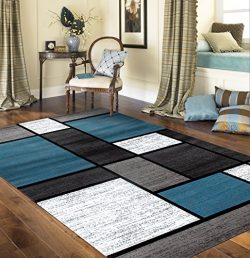 Rugshop Contemporary Modern Boxes Area Rug, 5′ 3″ x 7′ 3″, Blue