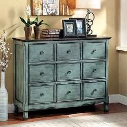 1PerfectChoice Orofino Vintage Accent Chest Console Table Cabinet Wood Antique Green Brown Top