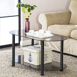 FITUEYES Grey Glass End Table Accent Side Table Coffee Table Cocktail Table CT210001GT