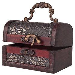 Decorative Vintage Jewelry Treasure Chest Box, Wooden Trinket Box Keepsake Gift Case With Handle