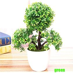 Harleya Artificial Flower Plants Potted Fake Flower Pine Trees Bonsai for Home Office Greenery D ...