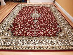 Large 8×11 Area Rug For Living Room Red 8×10 Traditional Rug For Dining Room Red Clear ...