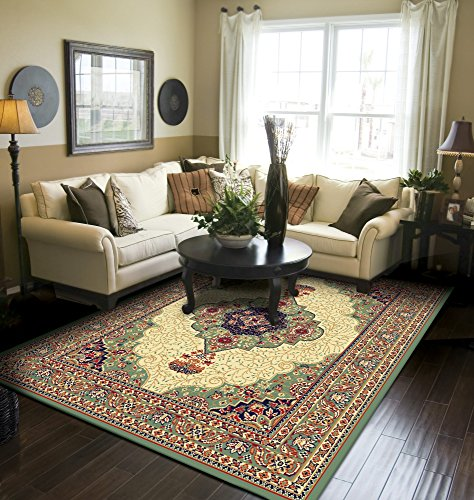Traditional Medallion Area Rugs Green 5x8 Rugs For Living