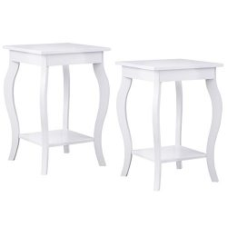 Giantex 2 Pcs End Table Bedroom Accent Sofa Side Table with Storage & Shelf Curved Legs, White