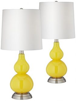 Citrus Yellow Small Gourd Accent Table Lamp Set of 2