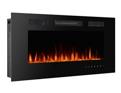 3G Plus Wall Recessed Electric Fireplace Crystal Stone Flame Effect 3 Changeable Color Heater, w ...