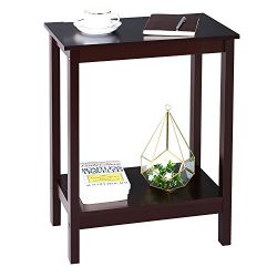 SONGMICS 2 Tier Sofa End Side Table Simplistic Narrow Nightstand Bedside Corner Table Open Shelf ...