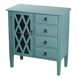 Heather Ann Creations 4 Drawer Wooden Accent Chest and Cabinet, Diamond Pattern Grille with Glas ...