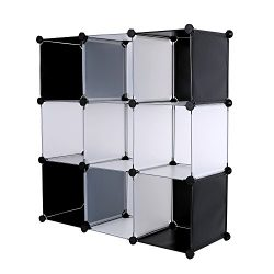 C&AHOME DIY 9 Cube Bookcase Media Storage Organizer Shelf Toy Rack Closet (White Cross)