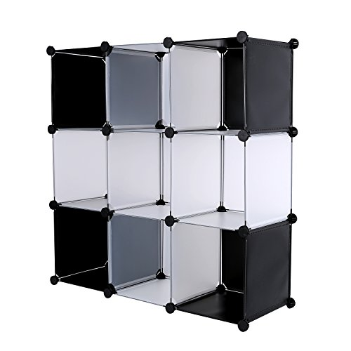 C&AHOME DIY 9 Cube Bookcase Media Storage Organizer Shelf Toy Rack Closet (White Cross)