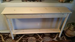 60″ Unfinished Pine Wall, Foyer, Sofa , Console, Hall Table With Bottom Shelf