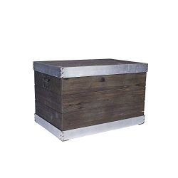 Household Essentials Wooden Storage Trunk with Silver Trim, Large