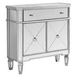 Monarch Specialties Mirrored Accent Chest, Brushed Silver Frame, 32″L