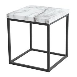 Tilly Lin Modern Accent Faux Marble Top End Table, Side Table, for Living Room, Bed Room, Black  ...