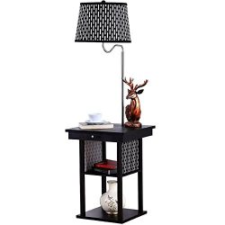 Brightech Madison LED Floor Lamp Swing Arm Lamp w/ Shade & Built In End Table & Shelf, I ...