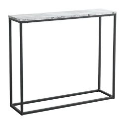 Tilly Lin Modern Accent Faux Marble Console Table, Black Metal Frame, for Hallway Entryway Livin ...