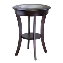 Winsome Wood Cassie Accent Table with Glass Top, Cappuccino Finish