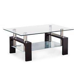 VIRREA Rectangular Glass Coffee Table Shelf Wood Living Room Furniture Chrome Base Walnut