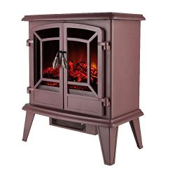 Allsees 20″ Electric Fireplace Stove Portable Freestanding Tempered Glass Electric Firepla ...