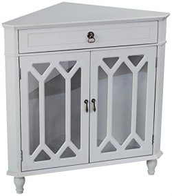 Heather Ann Creations Modern 2 Door Corner Cabinet With Drawer With Cathedral Glass Insert Seafo ...
