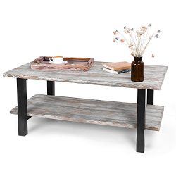 MyGift 42-Inch Reclaimed Torched Wood Industrial Coffee Table with Storage Shelf