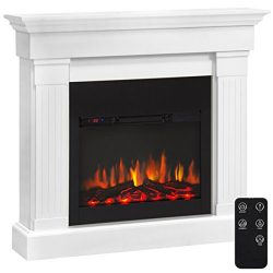 Best Choice Products 4700 BTU Wood Mantel Electric Fireplace W/ Remote Control, Mounting Bracket ...