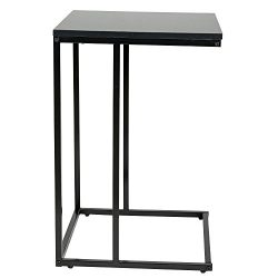 HollyHOME Slide Under Sofa Side Table, C-Shape Metal Snacks Side Console Table,Black