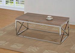 Reclaimed-Look/Chrome Metal Cocktail Coffee Table, Dark Sonoma