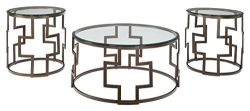 Ashley Furniture Signature Design – Frostine Coffee Table Set – Cocktail Table and T ...