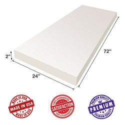 Upholstery Foam Cushion Sheet- 2″x24″x72″-High Density Support-Premium Luxury  ...