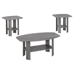 Monarch I 7925P 3 Piece Table Set, Grey