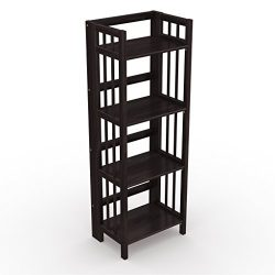 Stony-Edge No Assembly Folding Bookcase, 4 Shelves, Media Cabinet Storage Unit, for Home & O ...