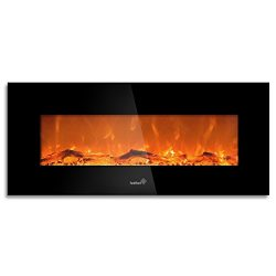 "Ivation 50"" Wall Mounted Glass Electric Fireplace w/ Built In 1500-Watt Heater – Realistic LED F ..."