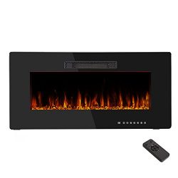 "36"" Electric Fireplace Heater,Wall Mounted & In-wall Recessed Fireplace Heater Flat Pa ..."