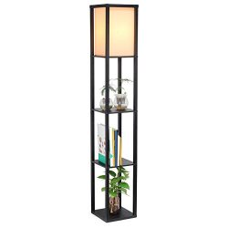 SHINE HAI Shelf Floor Lamp, Shade Diffused Light Source with Open Box Display Shelves, 63inch Mo ...