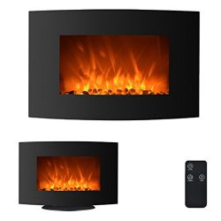35″ 750W/1500W Electric Fireplace 2-in-1 Adjustable Color Curve Glass Wall Mounted and Sta ...