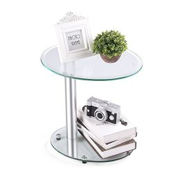 RFIVER Oval Coffee Table Small Side Table End Table, Save Space Corner Table for Bedroom&Liv ...