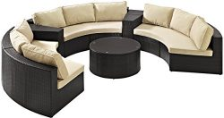 Crosley Furniture Catalina 6-Piece Outdoor Wicker Coffee Table and Sectional Sofa with Sand Cush ...