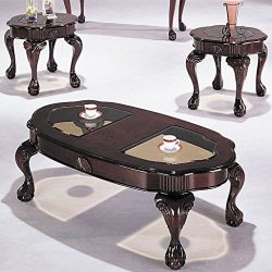 ACME Canebury Cherry and Glass Coffee End Table Set 3 Piece
