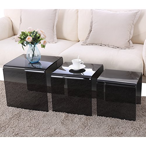 SUNCOO Glass Coffee Table Set Of 3 End Side Table Living