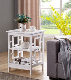 White Finish Wooden Square Design Chair Side End Table with 3-tier Shelf