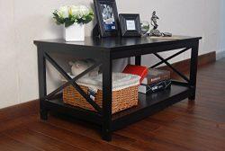 Espresso Finish X-Design Wooden Cocktail Coffee Table Shelf