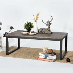 Aingoo Rustic Wooden Coffee Table with Metal Frame,Dark Brown