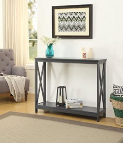 Grey Finish 3-Tier X-Design Occasional Console Sofa Table Bookshelf